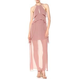 BCBGeneration mauve pink bodice overlay maxi dress